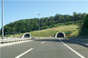 Motorway entering tunnel tubes