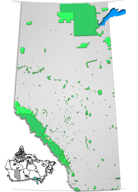 Map showing the location of Willmore Wilderness Park