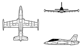 Orthographic projection of the Aermacchi MB-339A