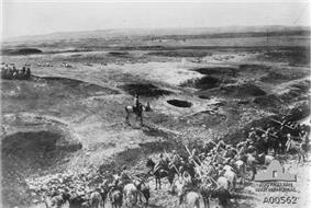 Mounted soldiers in a desert