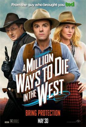 Three people dressed in Western style. On the left in the background a man dressed in dark colors with a gun held high. In the center a man in a blue shirt with a brown waistcoat, and to his right a blonde woman