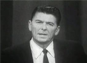 Television shot of Ronald Reagan delivering his