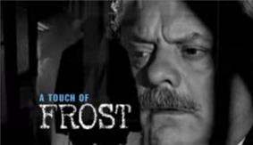 Alt=Series title over a headshot of Frost peering through cell bars