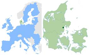 Location of Aarhus in the European Union and Denmark