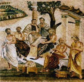 Mosaic: seven men standing under a tree