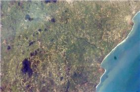 Satellite imagery of the City of Accra.