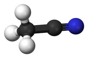 Ball and stick model of acetonitrile