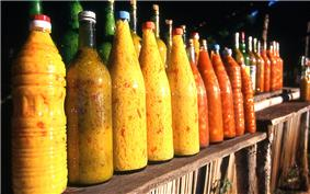 Bottles of lemon and mango sauces (achards) are common in the northwestern coastal regions of Madagascar.