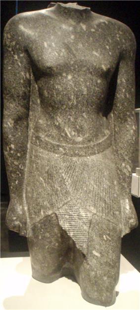 Granodiorite fragmentary statue torso of Hakor. Museum of Fine Arts, Boston.