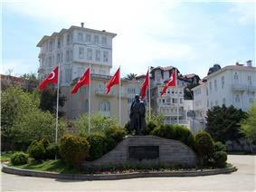 Statue of Atatürk in Büyükada, the largest of the Prince Islands in the Sea of Marmara, to the southeast of Istanbul.
