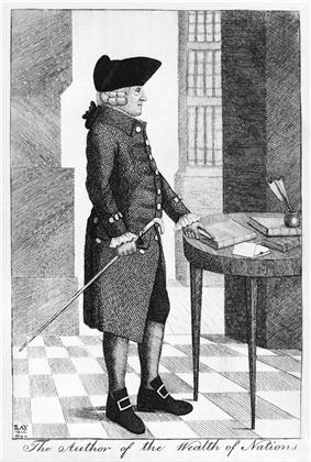 A drawing of a man standing up, with one hand holding a cane and the other pointing at a book