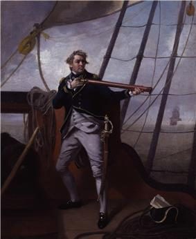 A large amn in a blue uniform strikes a dramatic pose holding a telescope on the quarterdeck of a ship. In the distance another ship can be seen with its sails set.