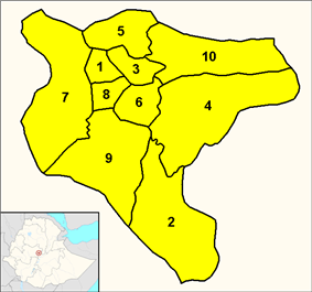 District map of Addis Ababa