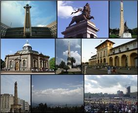 A montage of Addis Abeba's sights (from left to right) Top: Addis Abeba City Hall, Lion of Judah Monument, Tiglachin MonumentMiddle: St. George's Cathedral, Yekatit 12 Square, Addis Abeba Railway Station  Bottom: Meyazia 27 Square, View of Addis Abeba from Entoto, Meskel Square