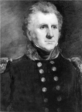 Black and white portrait of a bushy-haired man with sideburns and white eyebrows. He wears a dark military uniform with two rows of buttons and epaulettes.