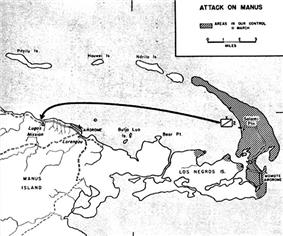Larger scale map indicating that Los Negros is now in Allied hands. An arrow indicates an attack across the harbour, on Manus.