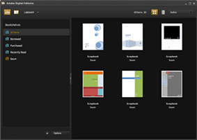 A screenshot of Adobe Digital Editions in library view