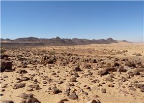 Landscape of the stony desert known as Reg de l'Adrar