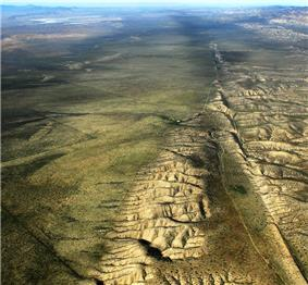 Aerial view of the San Andreas Fault as it passes through Carrizo Plain.