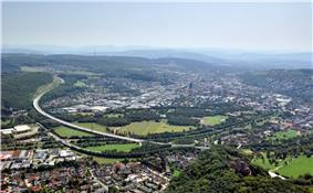 Aerial view at Lörrach from the north