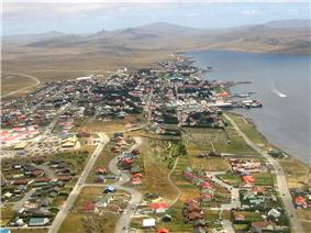 Aerial photograph of small seaside city