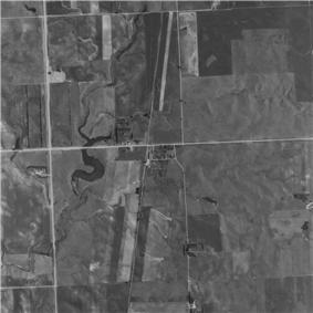 Aerial photo of Temvik, North Dakota as it appeared in 1991