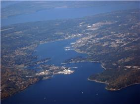 Aerial view of Keyport looking west from Port Orchard Bay