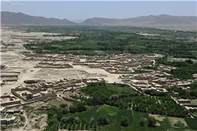 Aerial view of Mohammad Agha District in Logar province