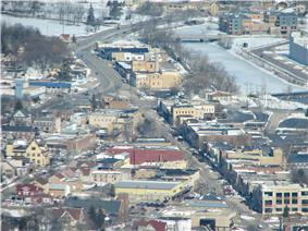 An Aerial view of downtown West Bend Wisconsin.