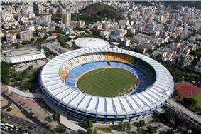 An aerial view of the Maracanã Stadium in Rio de Janeiro.