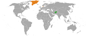 Map indicating locations of Afghanistan and Denmark