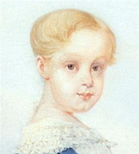 Oil portrait of the Prince Imperial as a blond-haired child in a white frock with lace at the neck and official blue sash