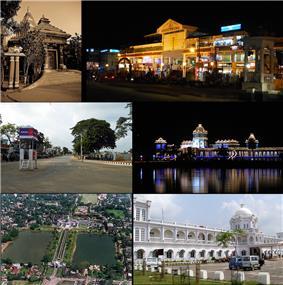 Montage of Agartala City  Clockwise from top: Agartala City Center, Ujjayanta Palace, Agartala Railway Station, Skyline of Ujjayanta Palace, North Gate of Ujjayanta Palace Compound, Kali Temple