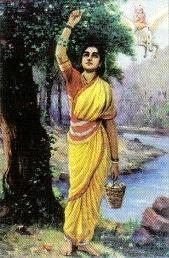 Ahalya clad in a yellow sari stands, plucking flowers from a tree. In the background (right top), Indra astride his flying horse.