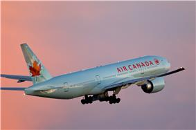 Air Canada plane in flight