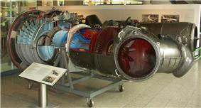 Aircraft engine, partially uncovered as an exhibit