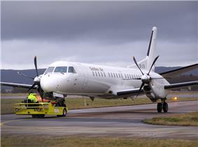 Aircraft towing, SE-LTU Saab 2000.jpg