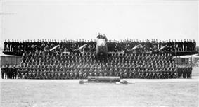 Aircrew and groundcrew of No. 432 (Leaside) Squadron, with one of the squadron's Handley Page B.III aircraft in England, May 1944