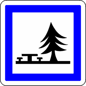 Sign indicating a picnic place in an aire de repos.