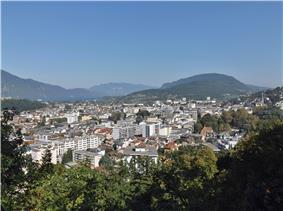 A panoramic view of Aix-les-Bains, looking to the north-west
