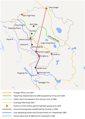 The map shows the Indian and Chinese claims of the border in the Aksai Chin region, the Macartney-MacDonald line, the Foreign Office Line, as well as the progress of Chinese forces as they occupied areas during the Sino-Indian War.