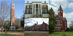 A collage of buildings and structures on campuses of colleges and universities in Alabama. Left: a red brick bell tower topped with white concrete, top center: a dark brown brick building fronted with four white ionic columns, right: a red brick building topped with a clock tower, bottom center: a red brick Gothic Revival building.