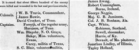 Partial scan of the March 24, 1836 Telegraph  and Texas Register with the first Texian list of defenders killed at the Battle of the Alamo