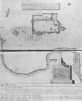 A manuscript map with a diagram of the Alamo complex. Mexican artillery are shown positioned at the northwest, southwest, and south, with their projected trajectory reaching all of the north, west, and south walls.