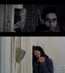 Top: A screenshot from the game, with Alan looking at an ax that is being smashed through a door from the other side. Bottom: A similar-looking picture from the movie The Shining, where a woman is witnessing the same situation.
