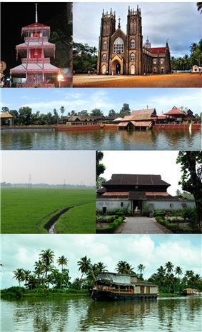 Clockwise from top Theru from Chettikulangara bharani, Arthunkal St. Andrew's Basilica, Ambalappuzha Sri Krishna Temple, Krishnapuram Palace,Houseboat in Vembanad Kayal, Paddy fiels in Kuttanad
