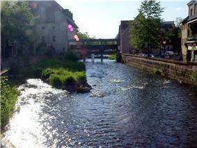 A river flowing through a town. In the background there is a bridge.