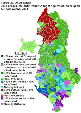 Albania majority religion 2011 census.png