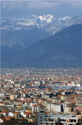 Shkodër and Albanian Alps seen from Rozafa Castle