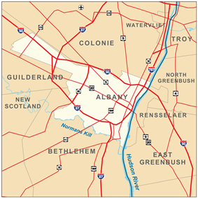 Map shows the city of Albany on the west bank of the Hudson, surrounded by the towns of Colonie, Guilderland, and Bethlehem. Roads are also shown. Interstates 90, 87, and 787 pass through the city boundaries.